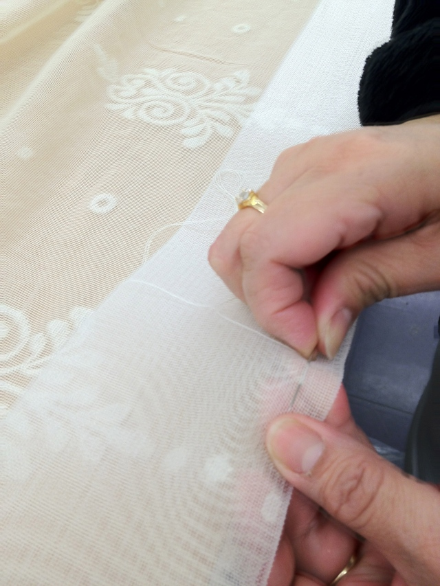 Hand Stitching at MT Custom Workroom. Interior Designer Michael Tavano is Creative Director.